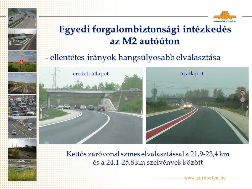 Egyedi forgalombiztonsági intézkedés az M2 autóúton Kettős záróvonal színes elválasztással a 21,9-23,4 km és a 24,1-25,8 km szelvények között - ellentétes irányok hangsúlyosabb elválasztása eredeti állapot új állapot
