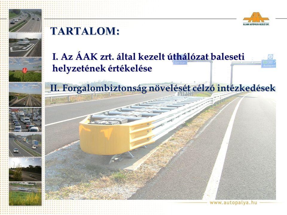 TARTALOM: I. Az ÁAK zrt. által kezelt úthálózat baleseti helyzetének értékelése II.