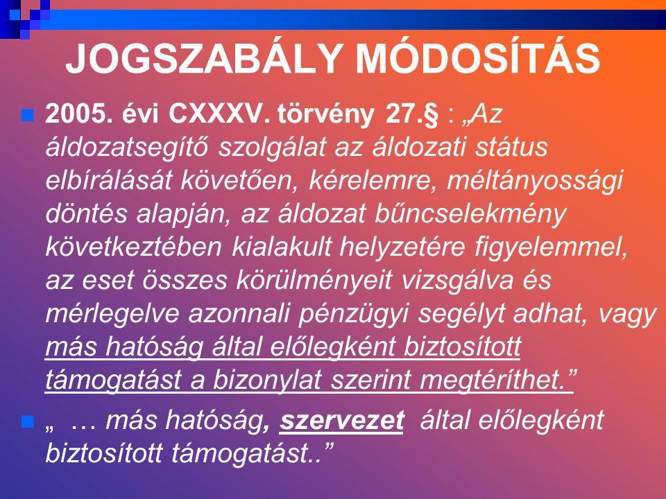 JOGSZABÁLY MÓDOSÍTÁS 2005. évi CXXXV.