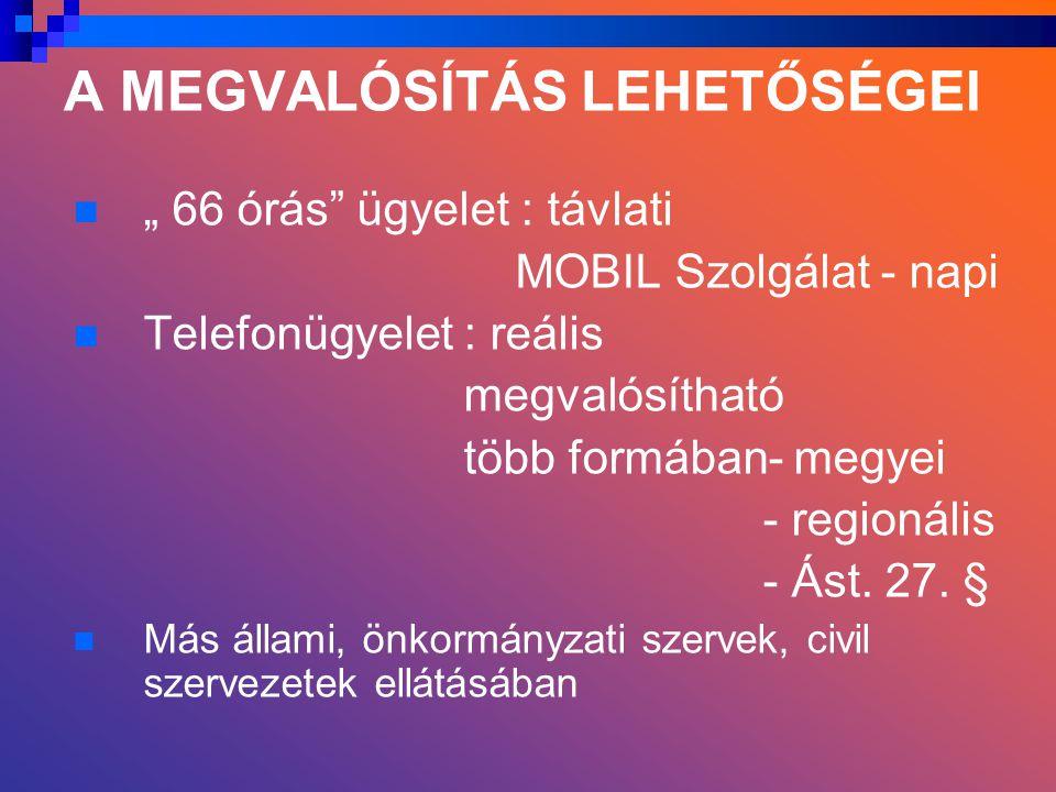 """A MEGVALÓSÍTÁS LEHETŐSÉGEI """" 66 órás ügyelet : távlati MOBIL Szolgálat - napi Telefonügyelet : reális megvalósítható több formában- megyei - regionális - Ást."""