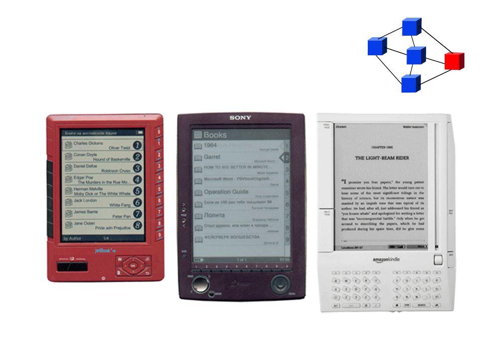 Meghatározó elemek Az elektronikus könyv három meghatározó eleme: digitális formátum (de facto szabványok) a formátumot kezelő számítógépes alkalmazások (olvasóprogramok) az alkalmazásokat futtató eszközök (hordozható számítógépszerű eszközök)