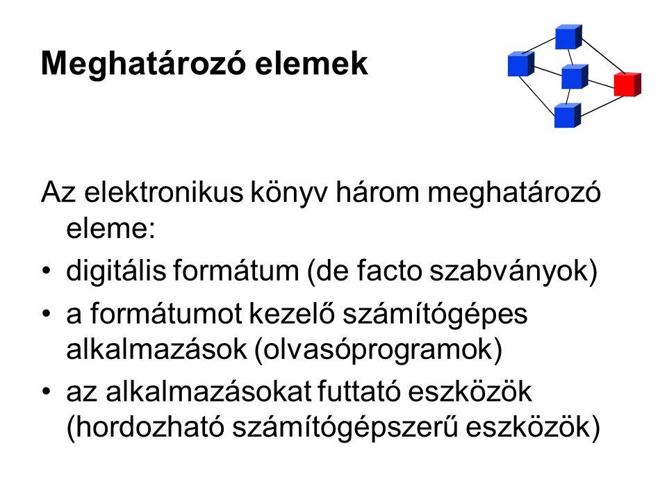 Meghatározó elemek Az elektronikus könyv három meghatározó eleme: digitális formátum (de facto szabványok) a formátumot kezelő számítógépes alkalmazás