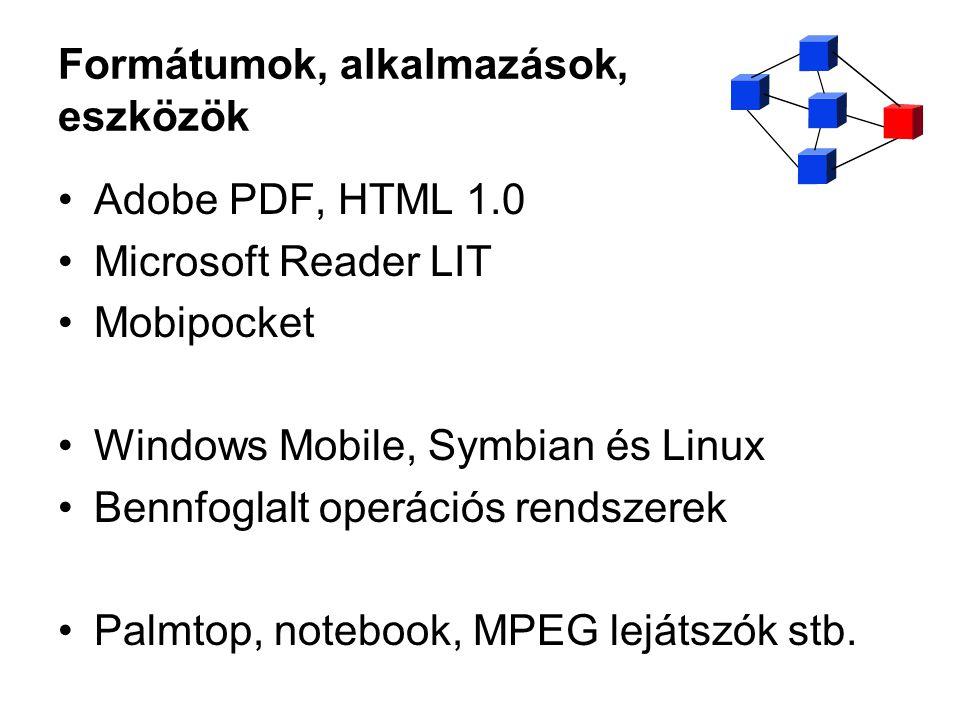 Formátumok, alkalmazások, eszközök Adobe PDF, HTML 1.0 Microsoft Reader LIT Mobipocket Windows Mobile, Symbian és Linux Bennfoglalt operációs rendszer