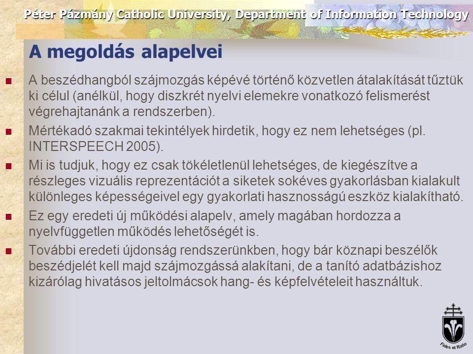 Péter Pázmány Catholic University, Department of Information Technology A megoldás alapelvei A beszédhangból szájmozgás képévé történő közvetlen átala