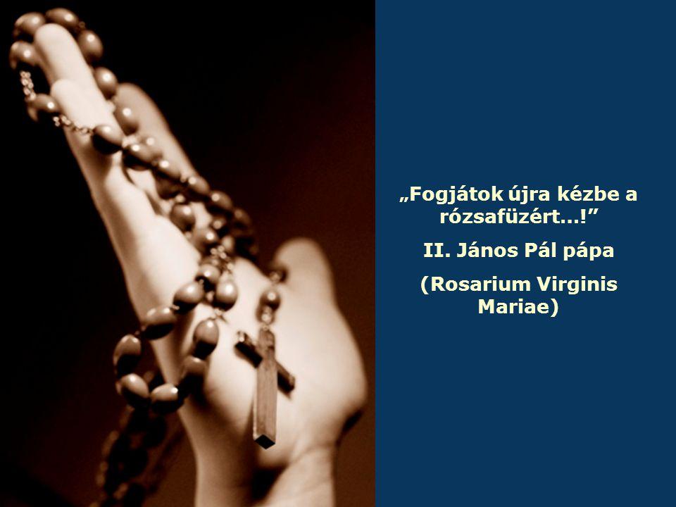 """"""" Fogjátok újra kézbe a rózsafüzért…! II. János Pál pápa (Rosarium Virginis Mariae)"""