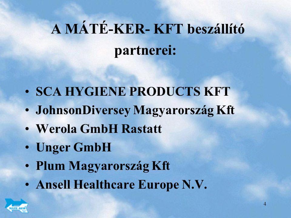 4 A MÁTÉ-KER- KFT beszállító partnerei: SCA HYGIENE PRODUCTS KFT JohnsonDiversey Magyarország Kft Werola GmbH Rastatt Unger GmbH Plum Magyarország Kft Ansell Healthcare Europe N.V.