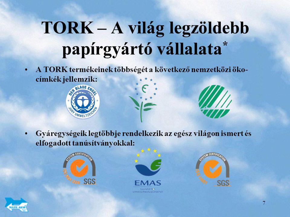 7 TORK – A világ legzöldebb papírgyártó vállalata * A TORK termékeinek többségét a következő nemzetközi öko- címkék jellemzik: Gyáregységeik legtöbbje rendelkezik az egész világon ismert és elfogadott tanúsítványokkal: