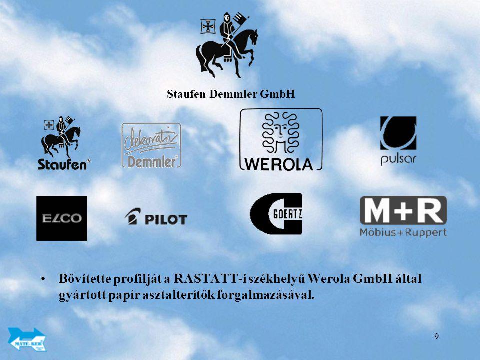 9 Bővítette profilját a RASTATT-i székhelyű Werola GmbH által gyártott papír asztalterítők forgalmazásával.