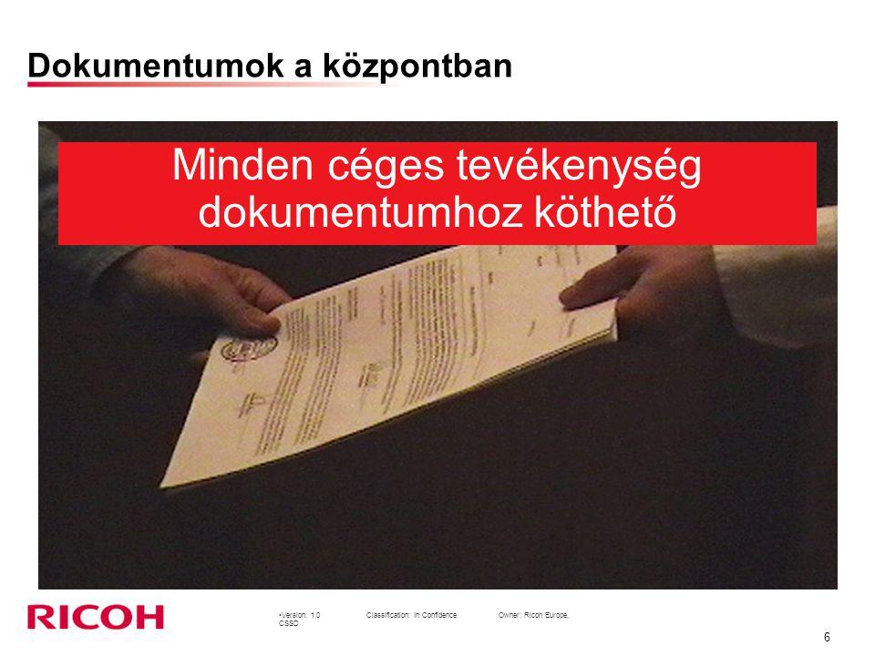 Version: 1.0Classification: In Confidence Owner: Ricoh Europe, CSSD 6 Dokumentumok a központban Minden céges tevékenység dokumentumhoz köthető