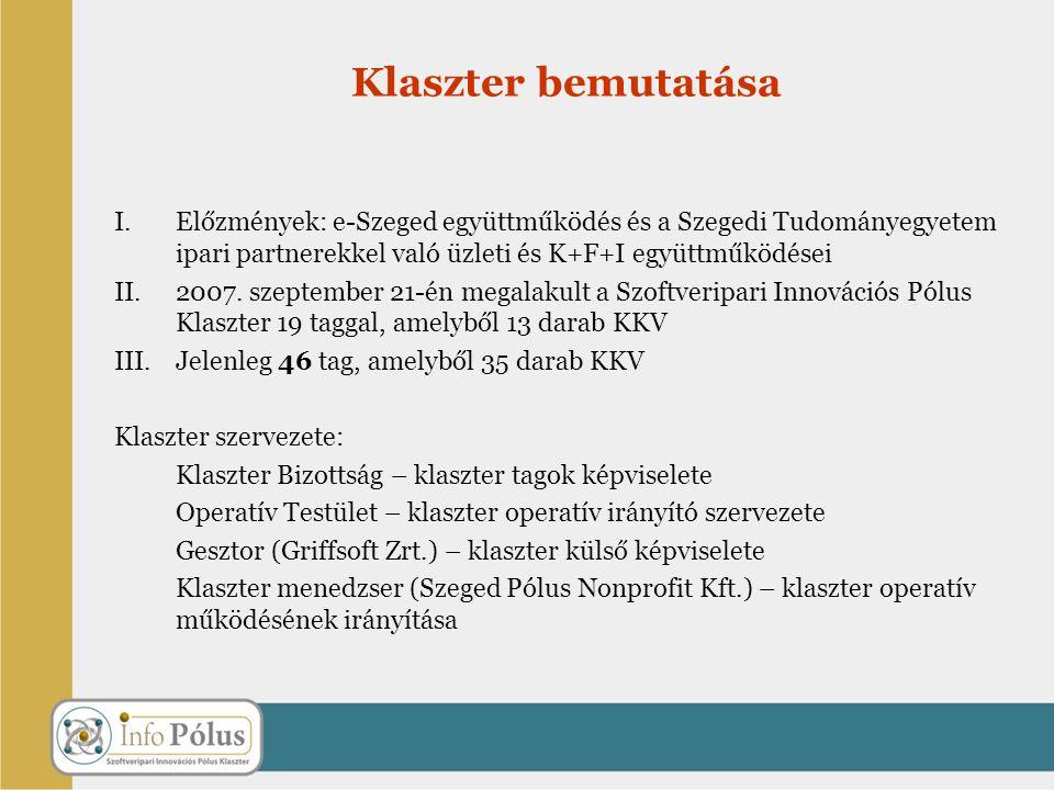 I.Előzmények: e-Szeged együttműködés és a Szegedi Tudományegyetem ipari partnerekkel való üzleti és K+F+I együttműködései II.2007. szeptember 21-én me