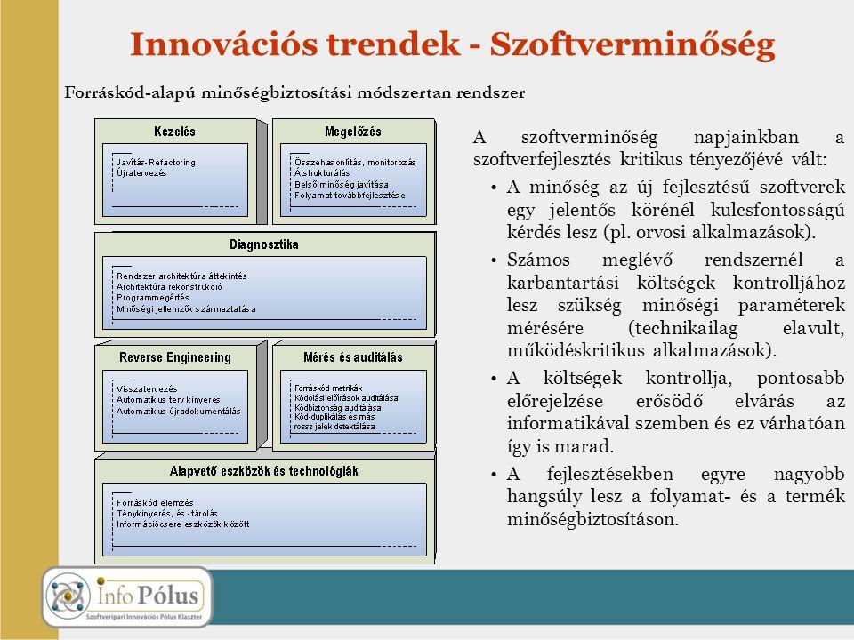 Innovációs trendek - Szoftverminőség A szoftverminőség napjainkban a szoftverfejlesztés kritikus tényezőjévé vált: A minőség az új fejlesztésű szoftve