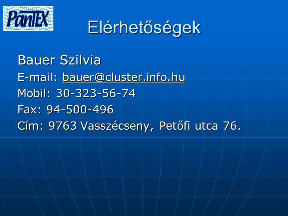 Elérhetőségek Bauer Szilvia E-mail: bauer@cluster.info.hu bauer@cluster.info.hu Mobil: 30-323-56-74 Fax: 94-500-496 Cím: 9763 Vasszécseny, Petőfi utca