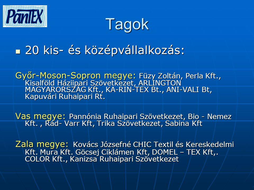 Tagok 20 kis- és középvállalkozás: 20 kis- és középvállalkozás: Győr-Moson-Sopron megye: Füzy Zoltán, Perla Kft., Kisalföld Háziipari Szövetkezet, ARLINGTON MAGYARORSZÁG Kft., KA-RIN-TEX Bt., ANI-VALI Bt, Kapuvári Ruhaipari Rt.