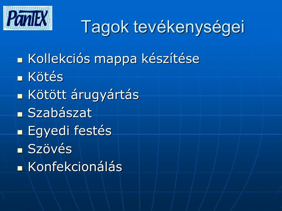 Tagok tevékenységei Tagok tevékenységei Kollekciós mappa készítése Kollekciós mappa készítése Kötés Kötés Kötött árugyártás Kötött árugyártás Szabásza