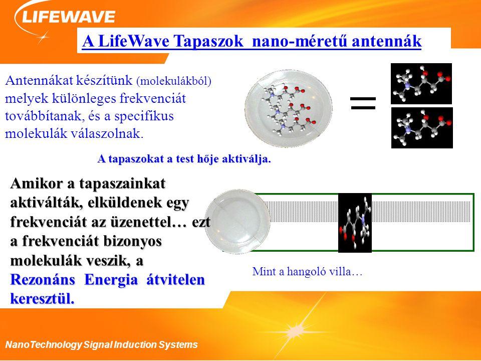 NanoTechnology Signal Induction Systems A LifeWave Tapaszok nano-méretű antennák Antennákat készítünk (molekulákból) melyek különleges frekvenciát továbbítanak, és a specifikus molekulák válaszolnak.