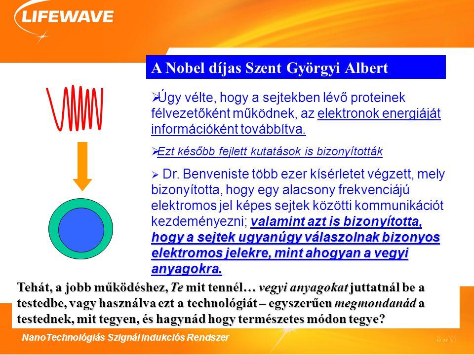 NanoTechnológiás Szignál indukciós Rendszer A Nobel díjas Szent Györgyi Albert  Úgy vélte, hogy a sejtekben lévő proteinek félvezetőként működnek, az elektronok energiáját információként továbbítva.