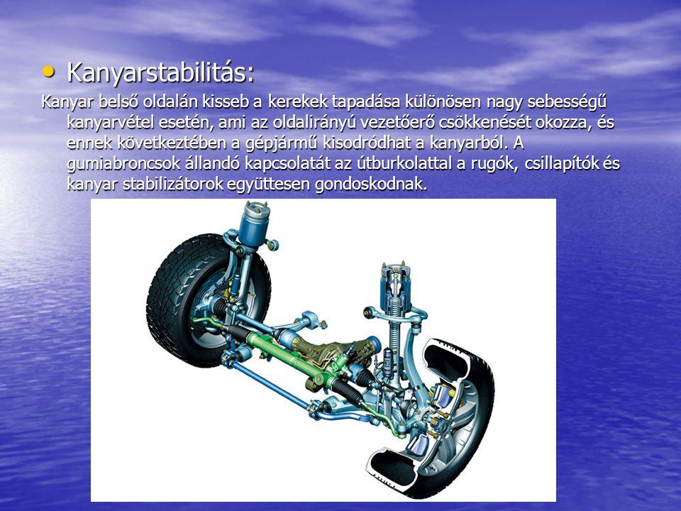 Kanyarstabilitás: Kanyarstabilitás: Kanyar belső oldalán kisseb a kerekek tapadása különösen nagy sebességű kanyarvétel esetén, ami az oldalirányú vez