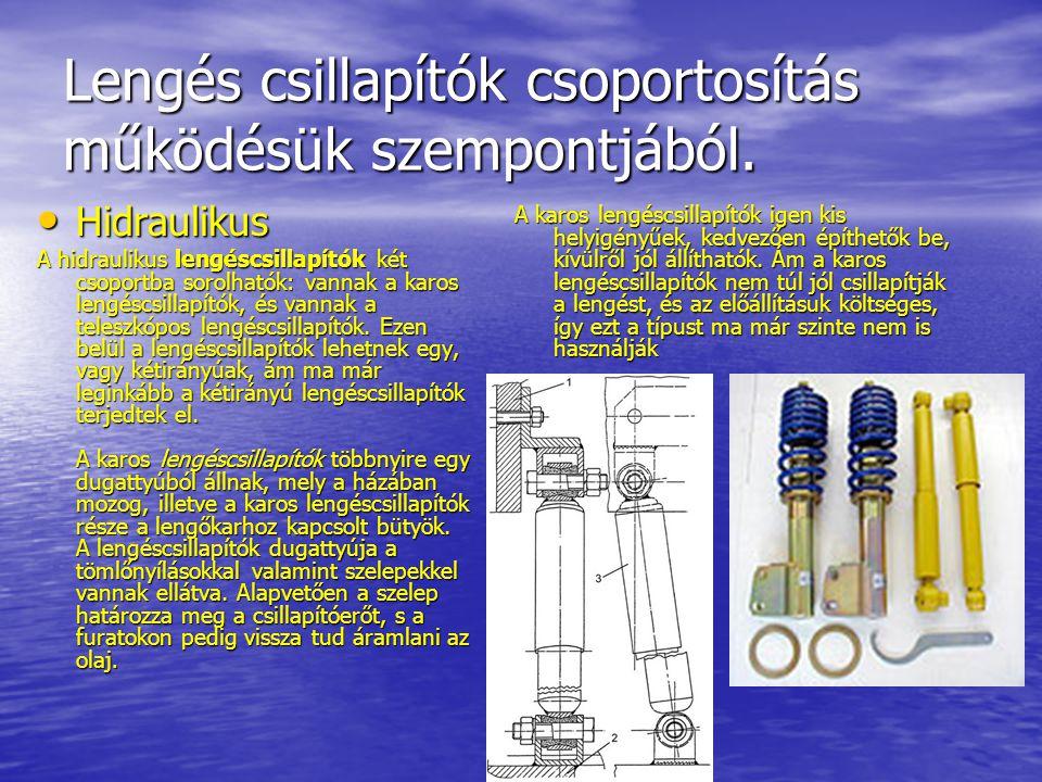 Lengés csillapítók csoportosítás működésük szempontjából. Hidraulikus Hidraulikus A hidraulikus lengéscsillapítók két csoportba sorolhatók: vannak a k