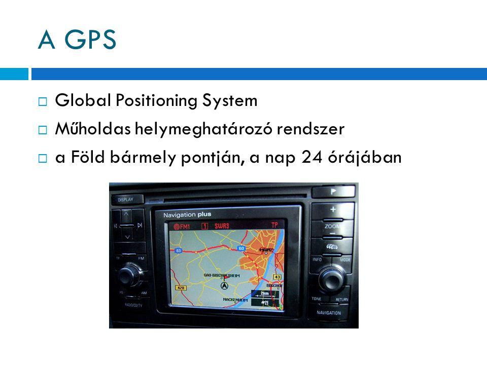  Global Positioning System  Műholdas helymeghatározó rendszer  a Föld bármely pontján, a nap 24 órájában
