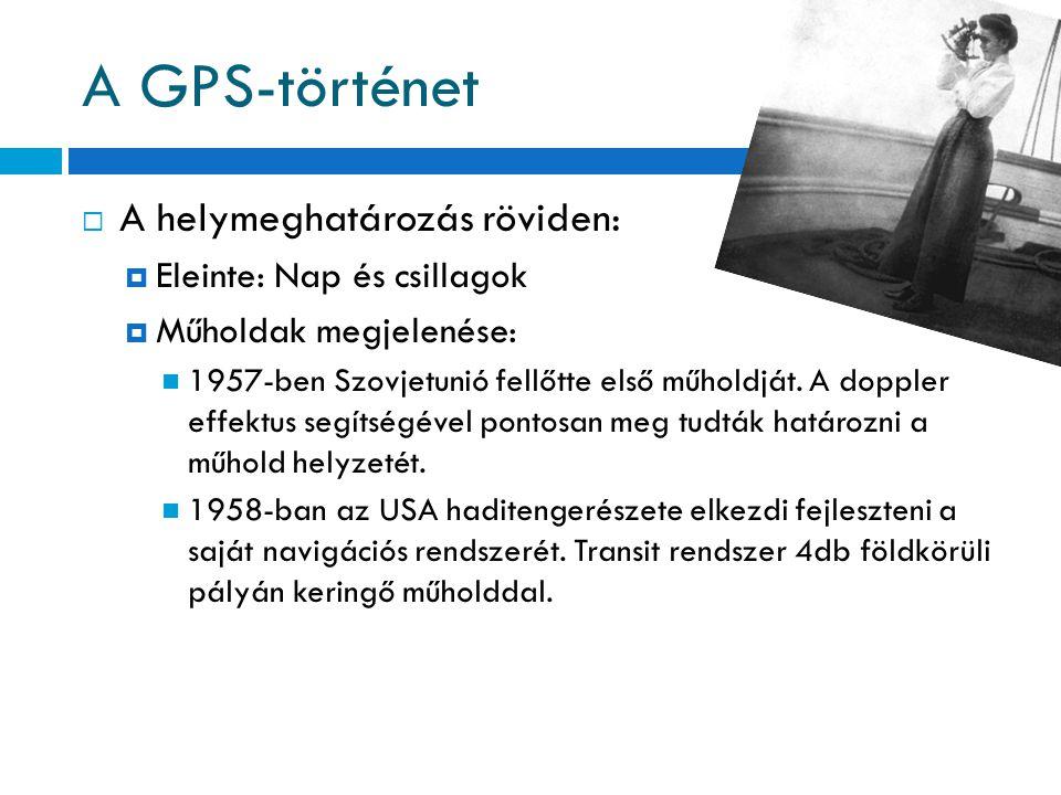 A GPS-történet  A helymeghatározás röviden:  Eleinte: Nap és csillagok  Műholdak megjelenése: 1957-ben Szovjetunió fellőtte első műholdját. A doppl