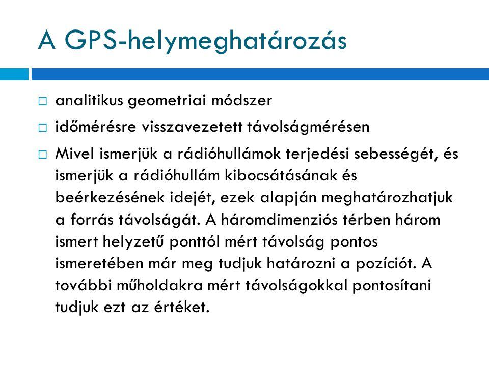 A GPS-helymeghatározás  analitikus geometriai módszer  időmérésre visszavezetett távolságmérésen  Mivel ismerjük a rádióhullámok terjedési sebesség