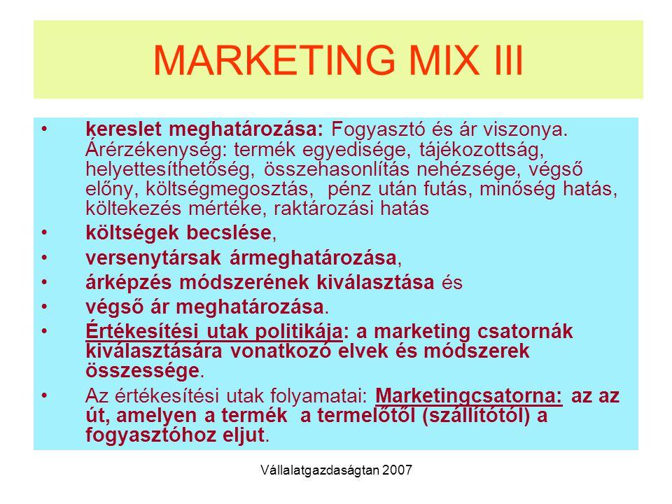 Vállalatgazdaságtan 2007 MARKETING MIX III kereslet meghatározása: Fogyasztó és ár viszonya.