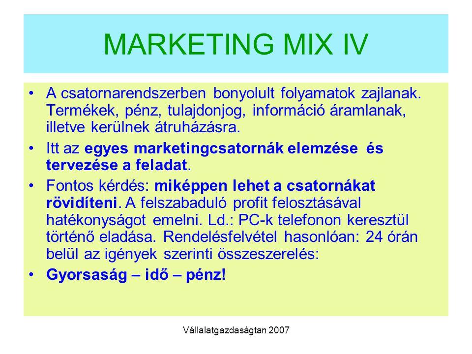 Vállalatgazdaságtan 2007 MARKETING MIX IV A csatornarendszerben bonyolult folyamatok zajlanak.
