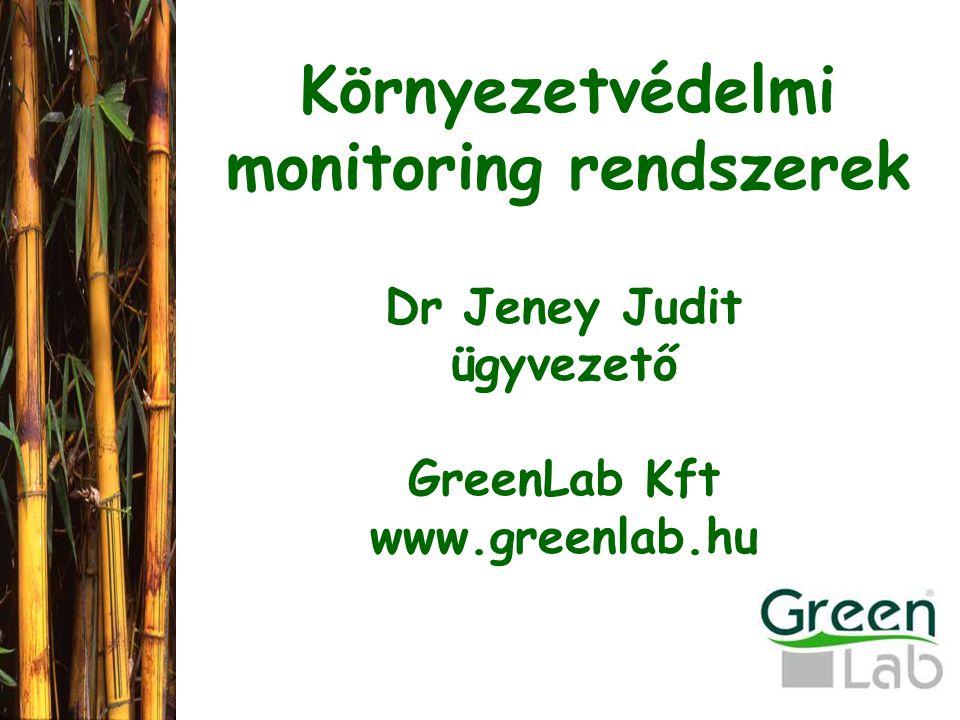Környezetvédelmi monitoring rendszerek Dr Jeney Judit ügyvezető GreenLab Kft www.greenlab.hu