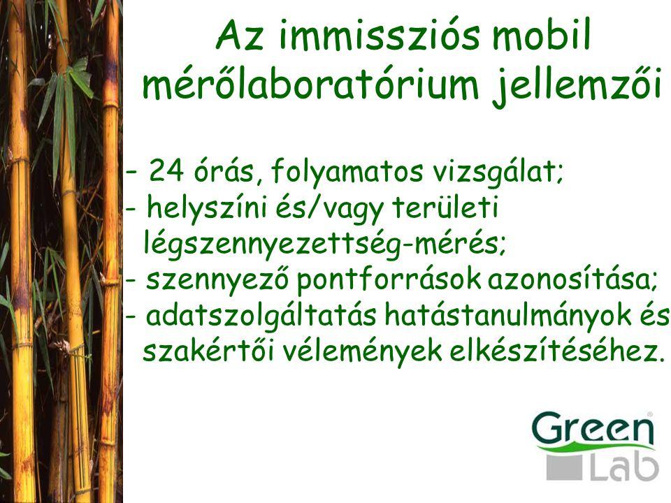 Az immissziós mobil mérőlaboratórium jellemzői - 24 órás, folyamatos vizsgálat; - helyszíni és/vagy területi légszennyezettség-mérés; - szennyező pontforrások azonosítása; - adatszolgáltatás hatástanulmányok és szakértői vélemények elkészítéséhez.
