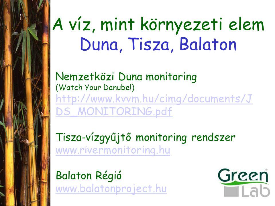 A víz, mint környezeti elem Duna, Tisza, Balaton Nemzetközi Duna monitoring (Watch Your Danube!) http://www.kvvm.hu/cimg/documents/J DS_MONITORING.pdf Tisza-vízgyűjtő monitoring rendszer www.rivermonitoring.hu Balaton Régió www.balatonproject.hu