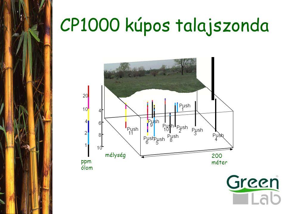 CP1000 kúpos talajszonda 200 méter Push 11 Push 6 5 9 10 Push 8 2 1 3 4 4 6 8 10 2 4 20 1 ppm ólom mélység