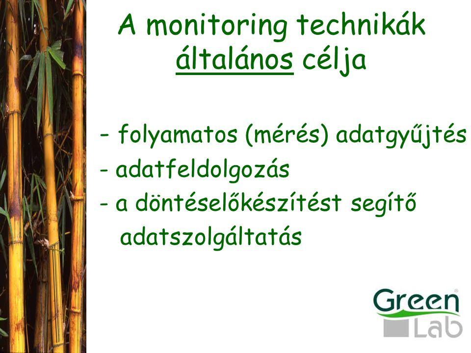 A monitoring technikák általános célja - folyamatos (mérés) adatgyűjtés - adatfeldolgozás - a döntéselőkészítést segítő adatszolgáltatás