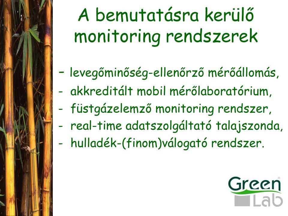 A bemutatásra kerülő monitoring rendszerek - levegőminőség-ellenőrző mérőállomás, - akkreditált mobil mérőlaboratórium, - füstgázelemző monitoring rendszer, - real-time adatszolgáltató talajszonda, - hulladék-(finom)válogató rendszer.