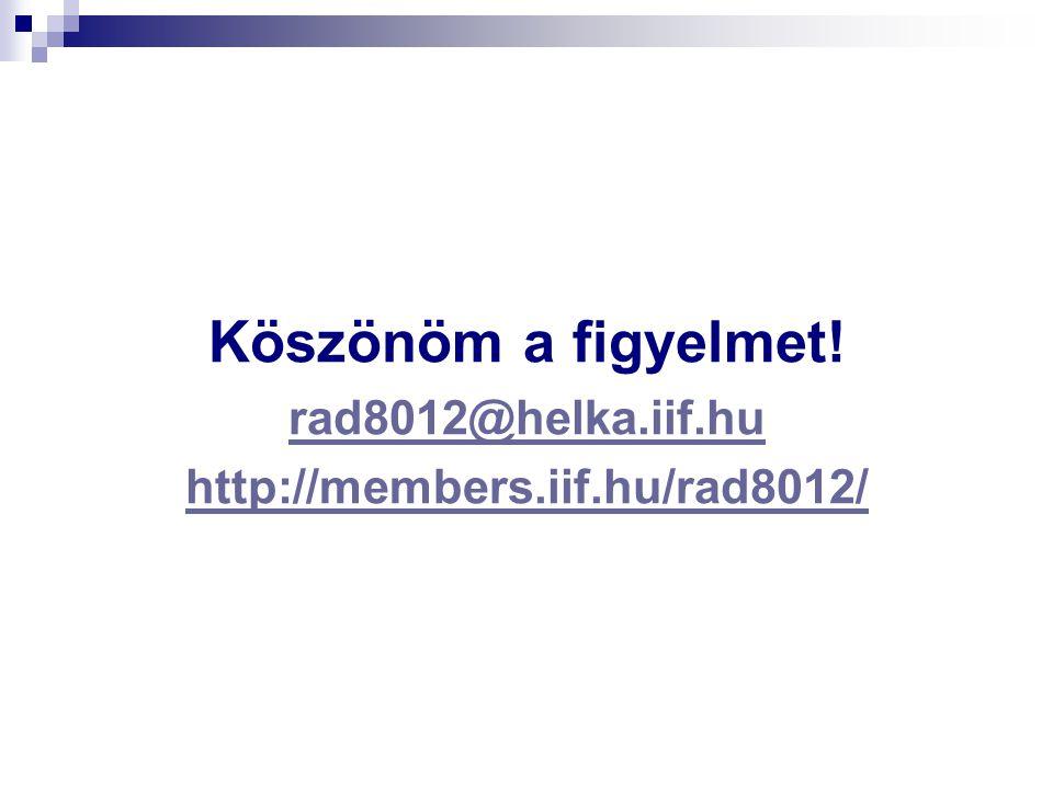 Köszönöm a figyelmet! rad8012@helka.iif.hu http://members.iif.hu/rad8012/