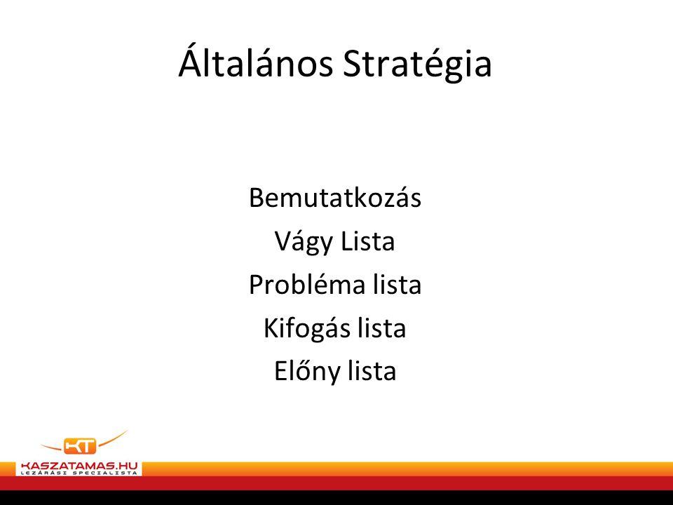 Általános Stratégia Bemutatkozás Vágy Lista Probléma lista Kifogás lista Előny lista