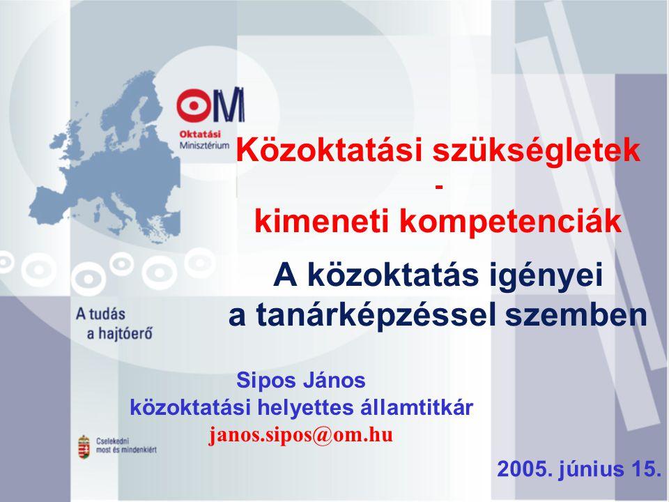 Közoktatási szükségletek - kimeneti kompetenciák A közoktatás igényei a tanárképzéssel szemben Sipos János közoktatási helyettes államtitkár janos.sip
