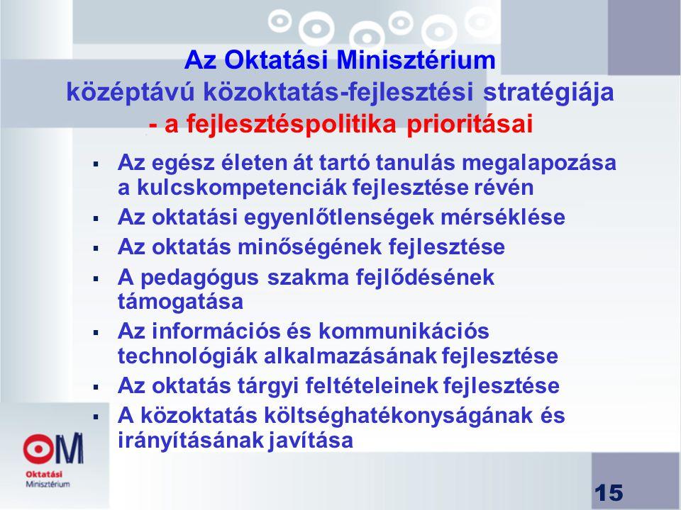 15 Az Oktatási Minisztérium középtávú közoktatás-fejlesztési stratégiája - a fejlesztéspolitika prioritásai  Az egész életen át tartó tanulás megalap