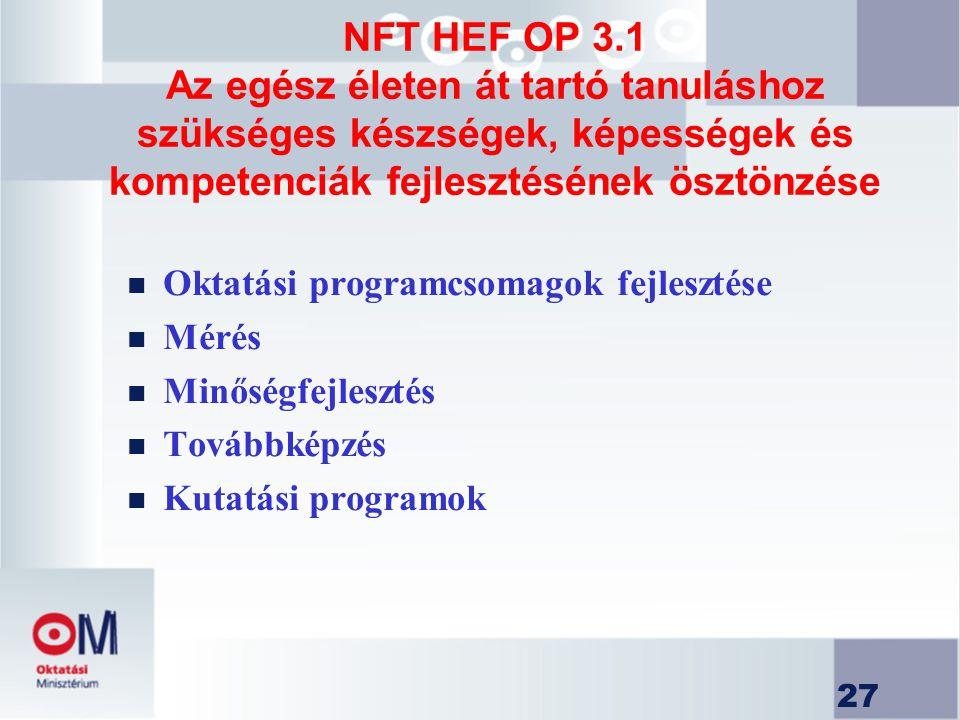 27 NFT HEF OP 3.1 Az egész életen át tartó tanuláshoz szükséges készségek, képességek és kompetenciák fejlesztésének ösztönzése n Oktatási programcsom