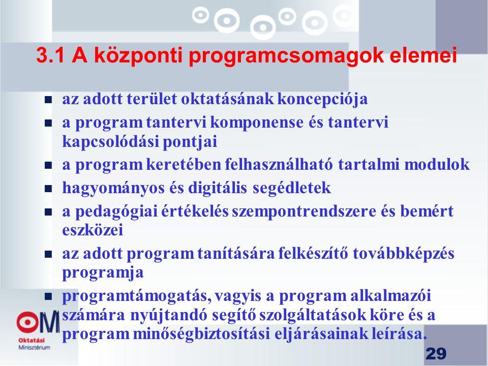 29 3.1 A központi programcsomagok elemei n az adott terület oktatásának koncepciója n a program tantervi komponense és tantervi kapcsolódási pontjai n