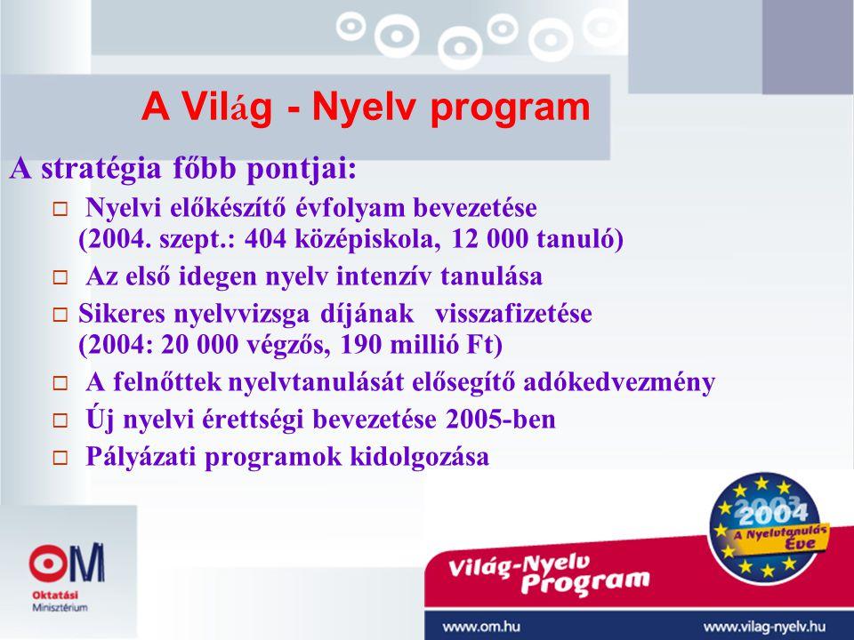 34 A Vil á g - Nyelv program A stratégia főbb pontjai:  Nyelvi előkészítő évfolyam bevezetése (2004. szept.: 404 középiskola, 12 000 tanuló)  Az els