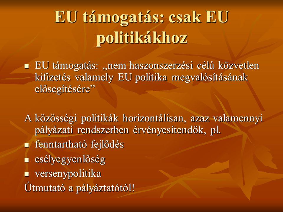 """EU támogatás: csak EU politikákhoz EU támogatás: """"nem haszonszerzési célú közvetlen kifizetés valamely EU politika megvalósításának elősegítésére EU támogatás: """"nem haszonszerzési célú közvetlen kifizetés valamely EU politika megvalósításának elősegítésére A közösségi politikák horizontálisan, azaz valamennyi pályázati rendszerben érvényesítendők, pl."""