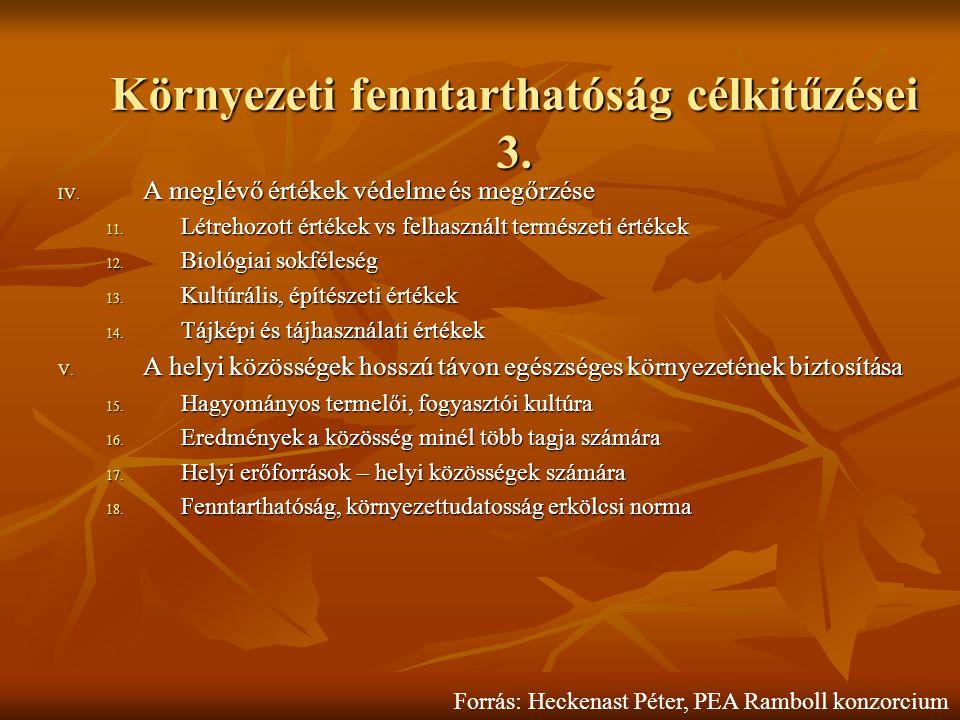 Környezeti fenntarthatóság célkitűzései 3. IV. A meglévő értékek védelme és megőrzése 11.