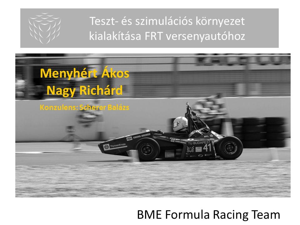 Menyhért Ákos Nagy Richárd Önálló laboratórium Teszt- és szimulációs környezet kialakítása FRT versenyautóhoz 1 BME Formula Racing Team Konzulens: Sch