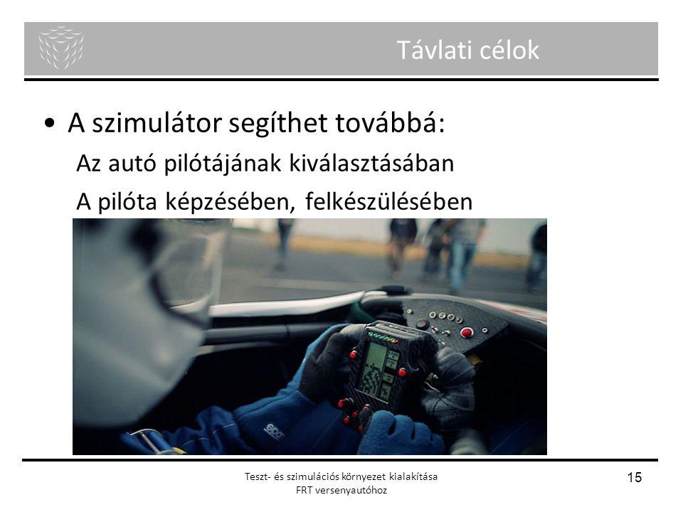Menyhért Ákos Nagy Richárd Önálló laboratórium Távlati célok A szimulátor segíthet továbbá: Az autó pilótájának kiválasztásában A pilóta képzésében, f