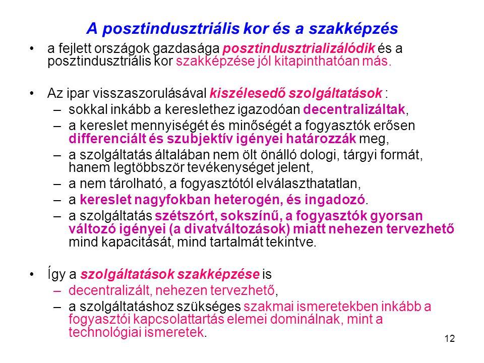 12 A posztindusztriális kor és a szakképzés a fejlett országok gazdasága posztindusztrializálódik és a posztindusztriális kor szakképzése jól kitapint