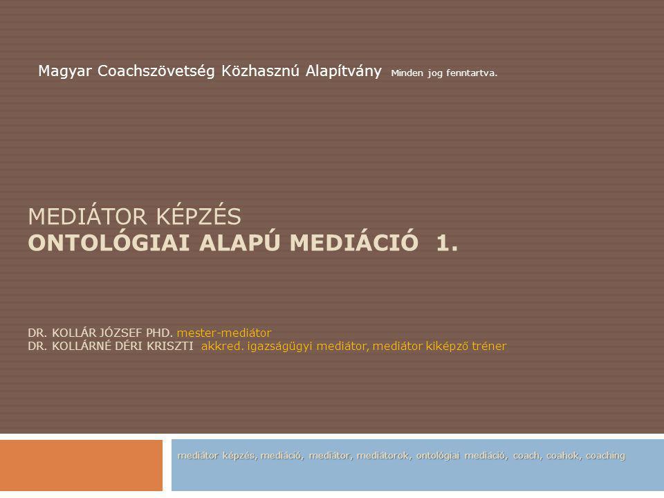 MEDIÁTOR KÉPZÉS ONTOLÓGIAI ALAPÚ MEDIÁCIÓ 1.DR. KOLLÁR JÓZSEF PHD.