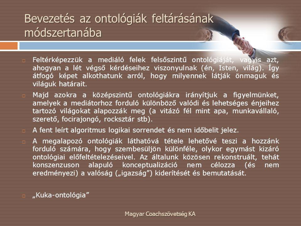 Magyar Coachszövetség KA  Feltérképezzük a mediáló felek felsőszintű ontológiáját, vagyis azt, ahogyan a lét végső kérdéseihez viszonyulnak (én, Isten, világ).