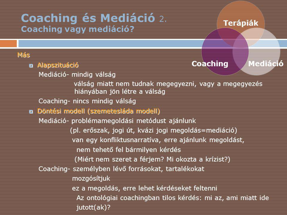 Coaching és Mediáció 3.Coaching vagy mediáció.