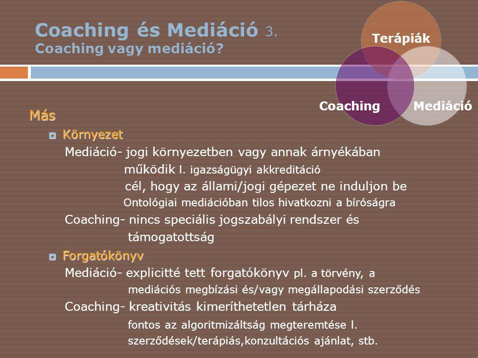 Coaching és Mediáció 4.Coaching vagy mediáció.
