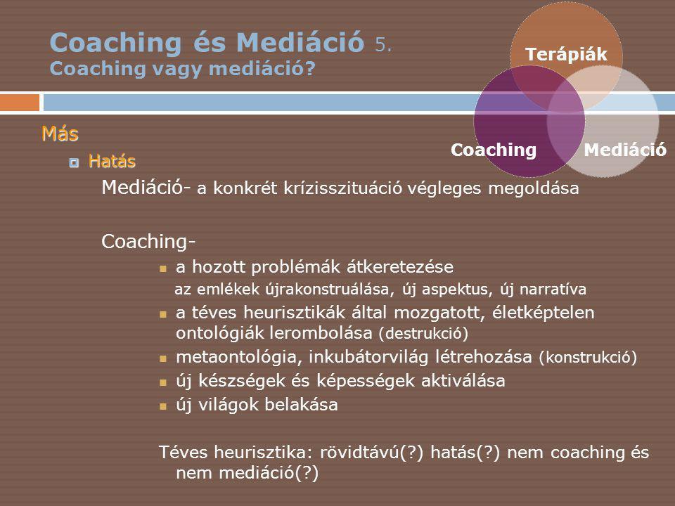 Coaching és Mediáció 5.Coaching vagy mediáció.